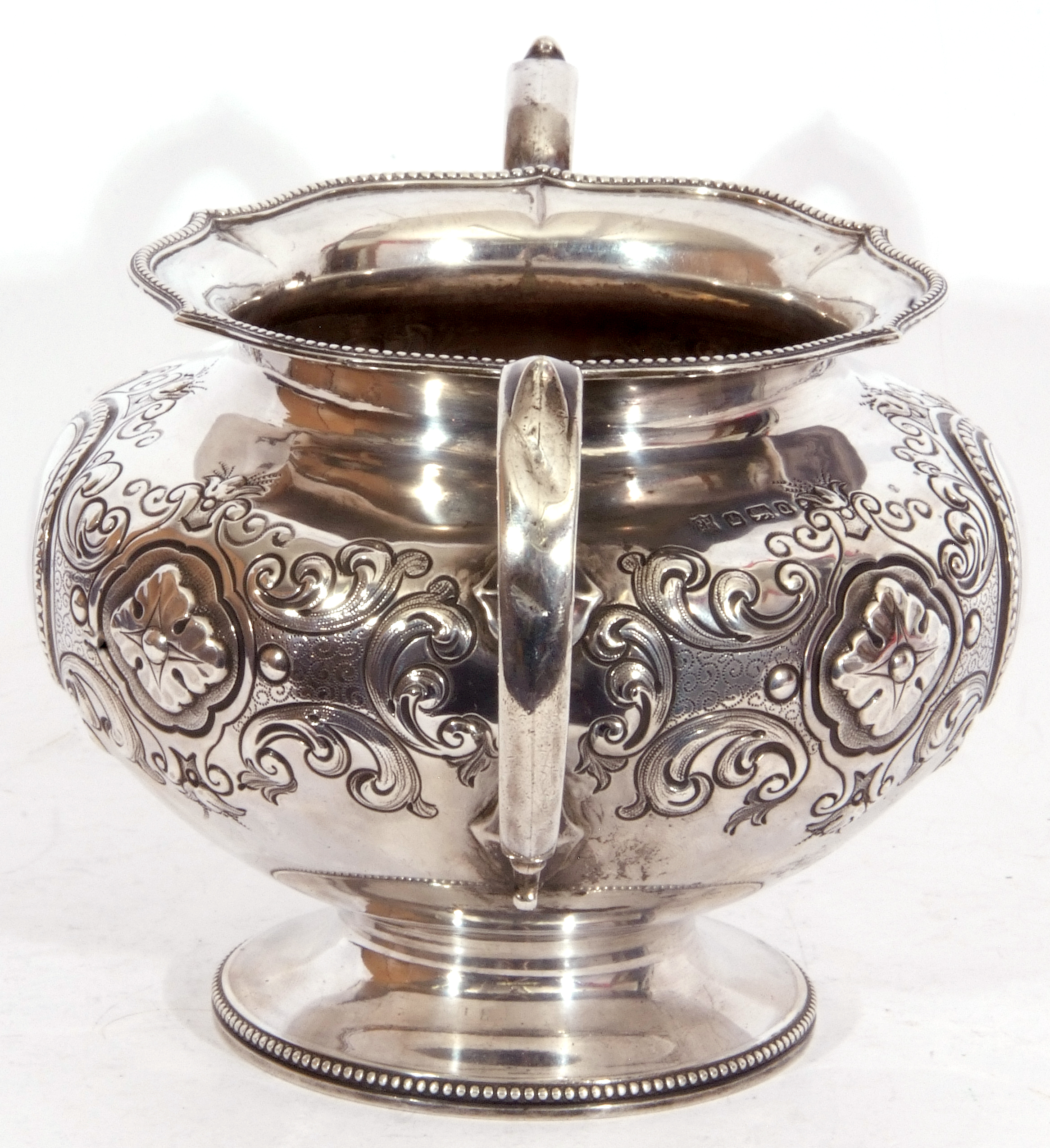 Victorian twin handled sucrier of squat circular form, with two scroll capped handles, beaded - Image 5 of 8