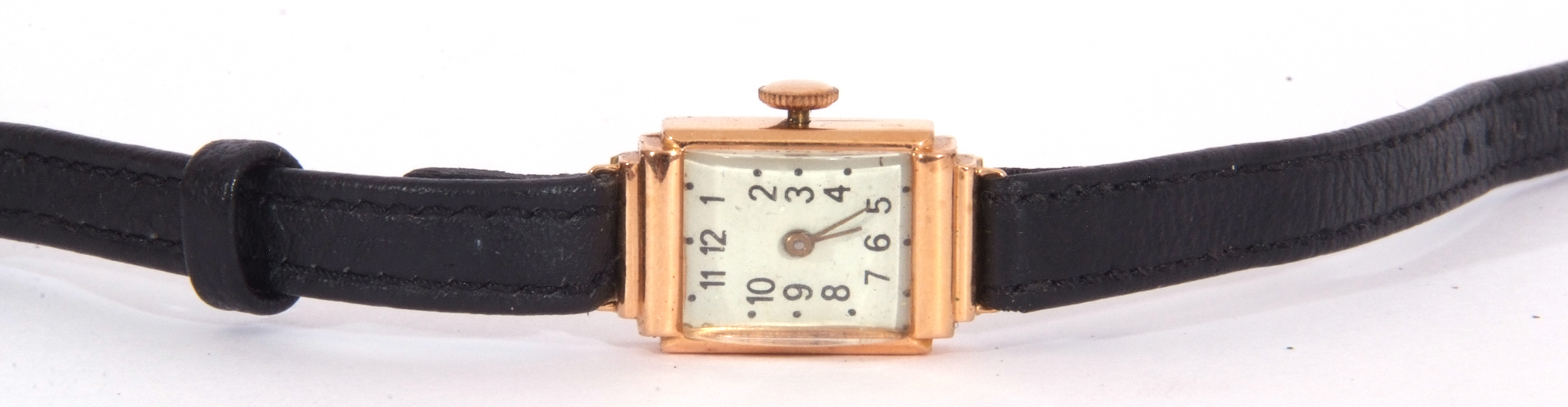 Second quarter of 20th century ladies cased wrist watch, the rectangular shaped case with un-named - Image 2 of 4