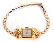 Second quarter of 20th century ladies cased French wristwatch, the rectangular shaped case with un-
