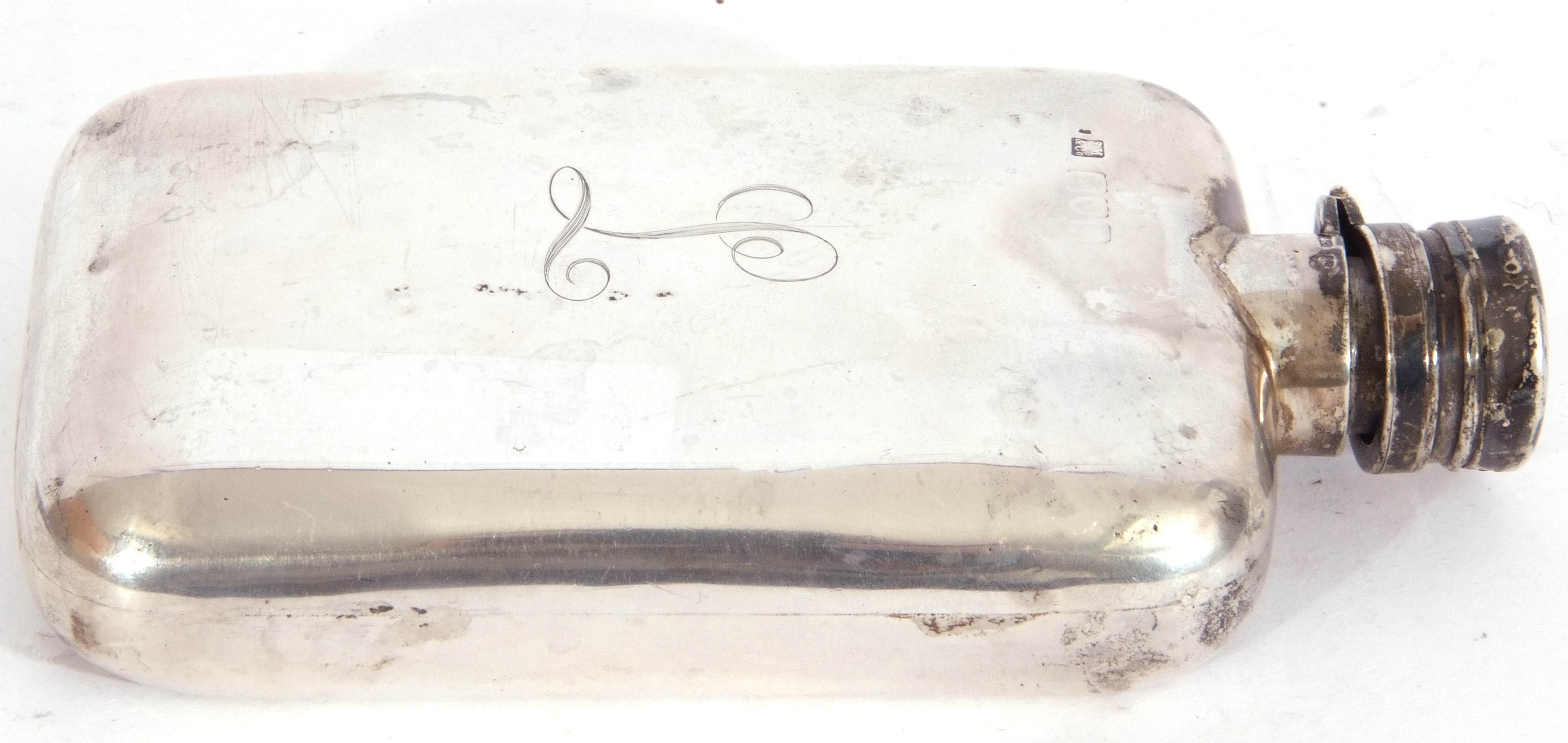 Early 20th century silver hip flask, circa 1920, of rectangular curved form with rounded corners, - Image 2 of 5