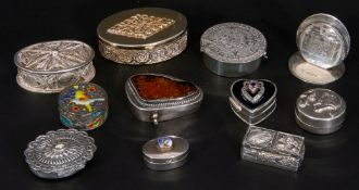 Collection of nine mainly silver/white metal decorative boxes and hallmarked silver menu holder,