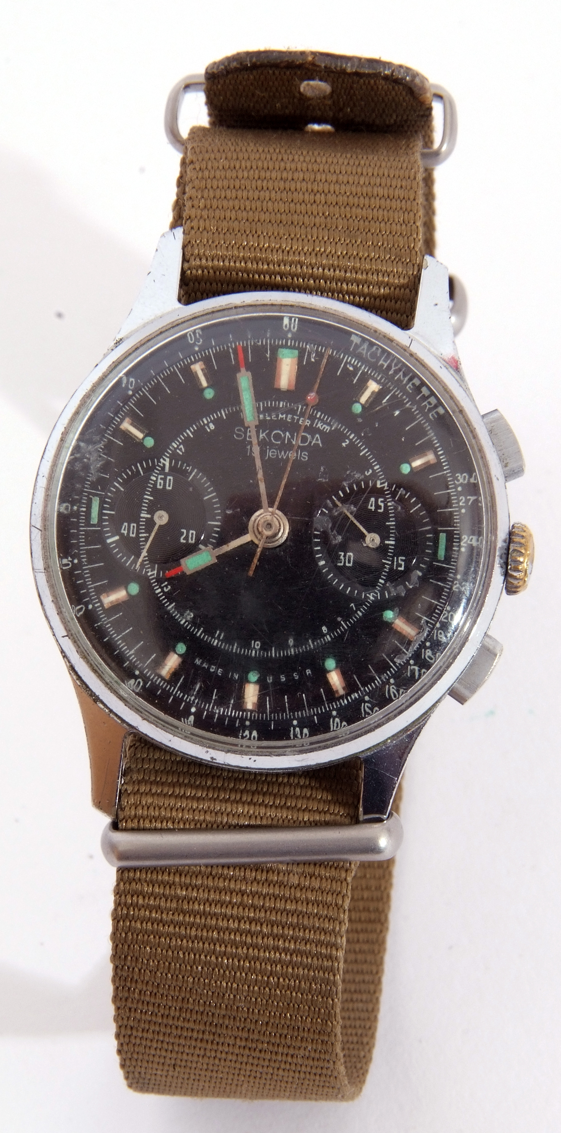 Third quarter of 20th century Sekonda centre seconds wrist chronograph watch case, stainless steel - Image 6 of 6