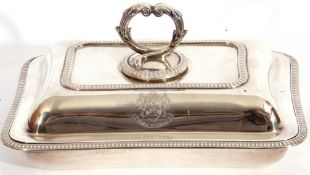 George V hallmarked small silver entree dish and lid of rectangular shape, applied gadrooned