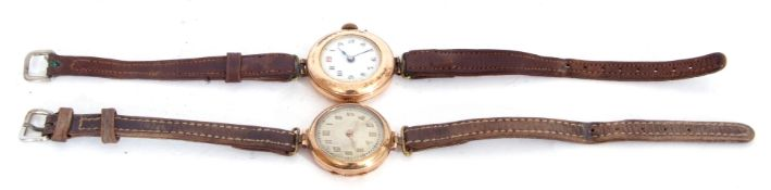 Mixed Lot: first quarter of 20th century ladies 9ct gold cased wrist watch, the round shaped case