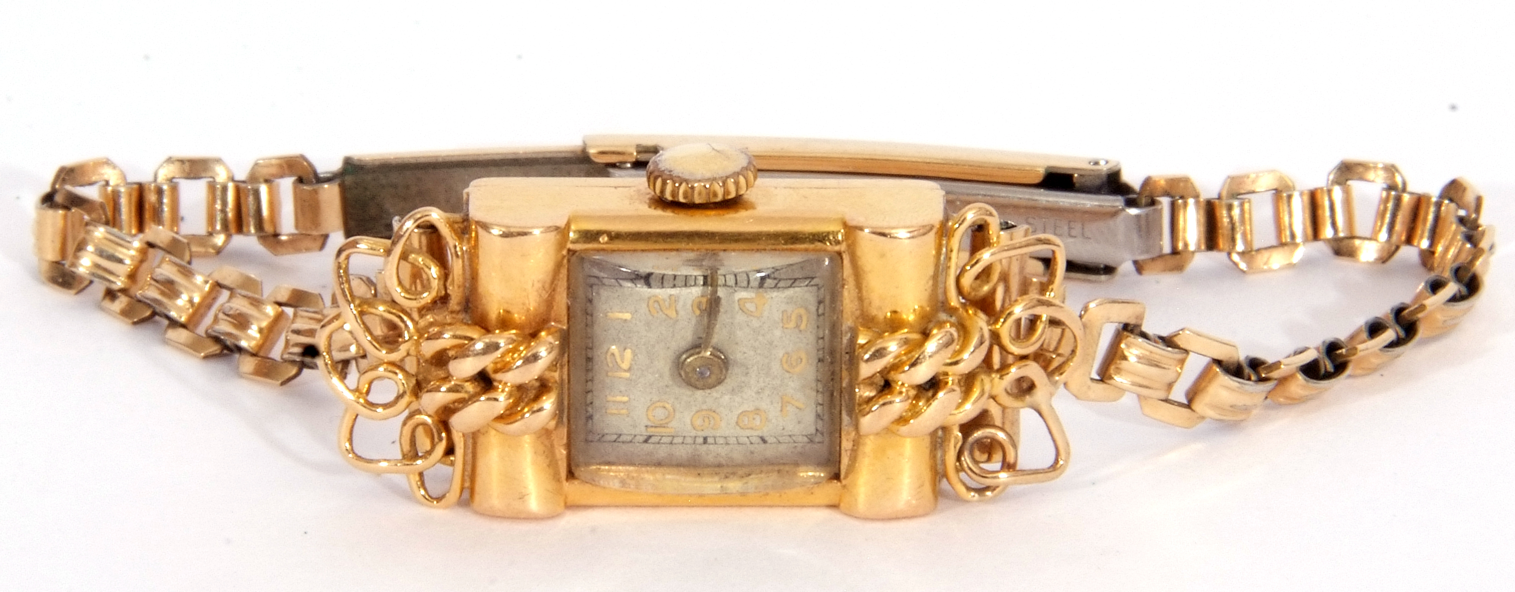 Second quarter of 20th century ladies cased French wristwatch, the rectangular shaped case with un- - Image 6 of 6