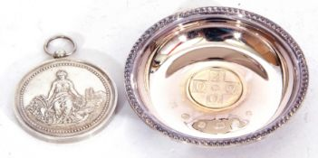 """Hallmarked silver miniature circular dish, """"2000"""" together with a French agricultural medallion"""