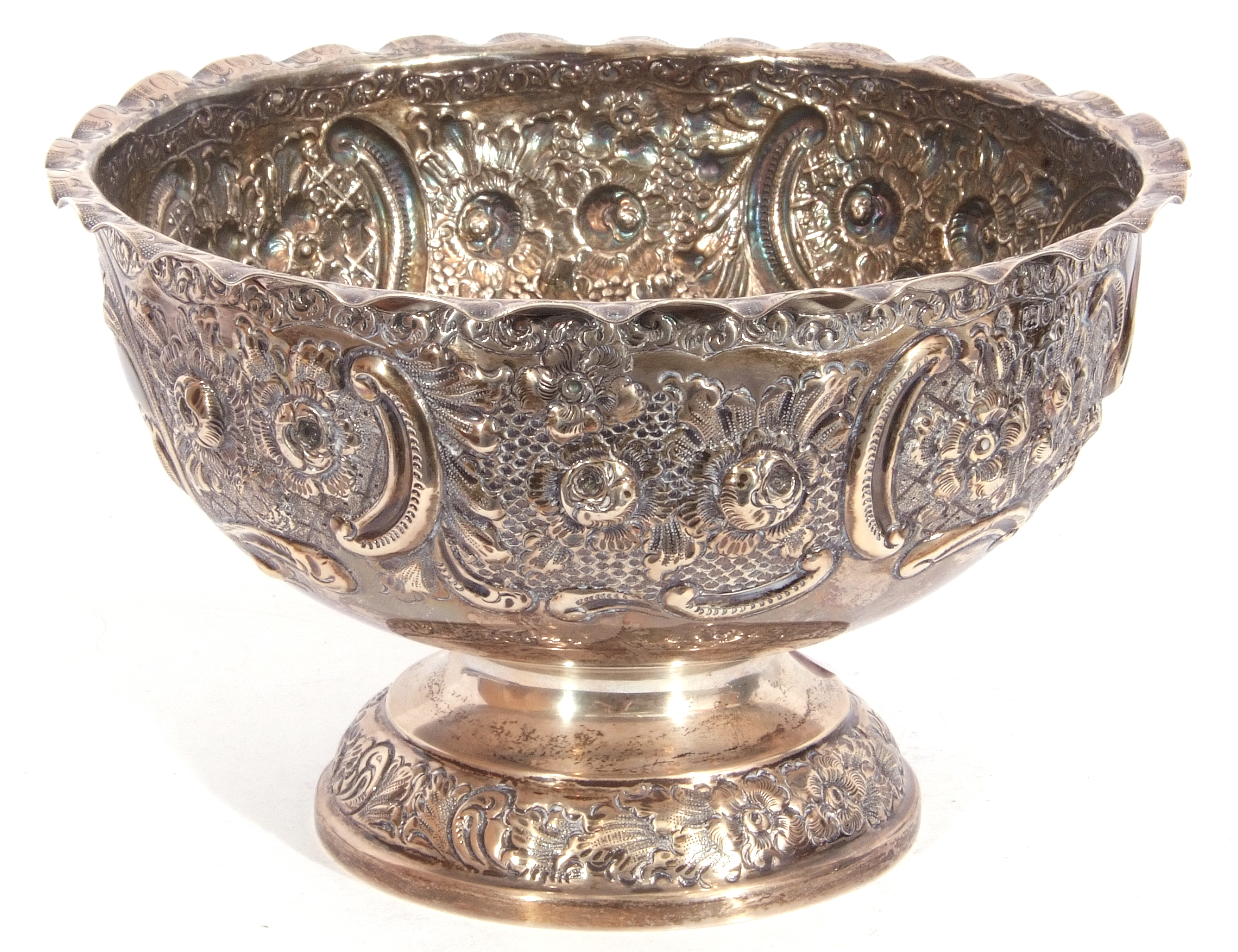 Late Victorian silver rose bowl raised on a pedestal foot and having an all over chased leaf and - Image 3 of 4