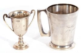 Mixed Lot: George VI silver tankard of tapering cylindrical form, applied reeded C-shaped handle