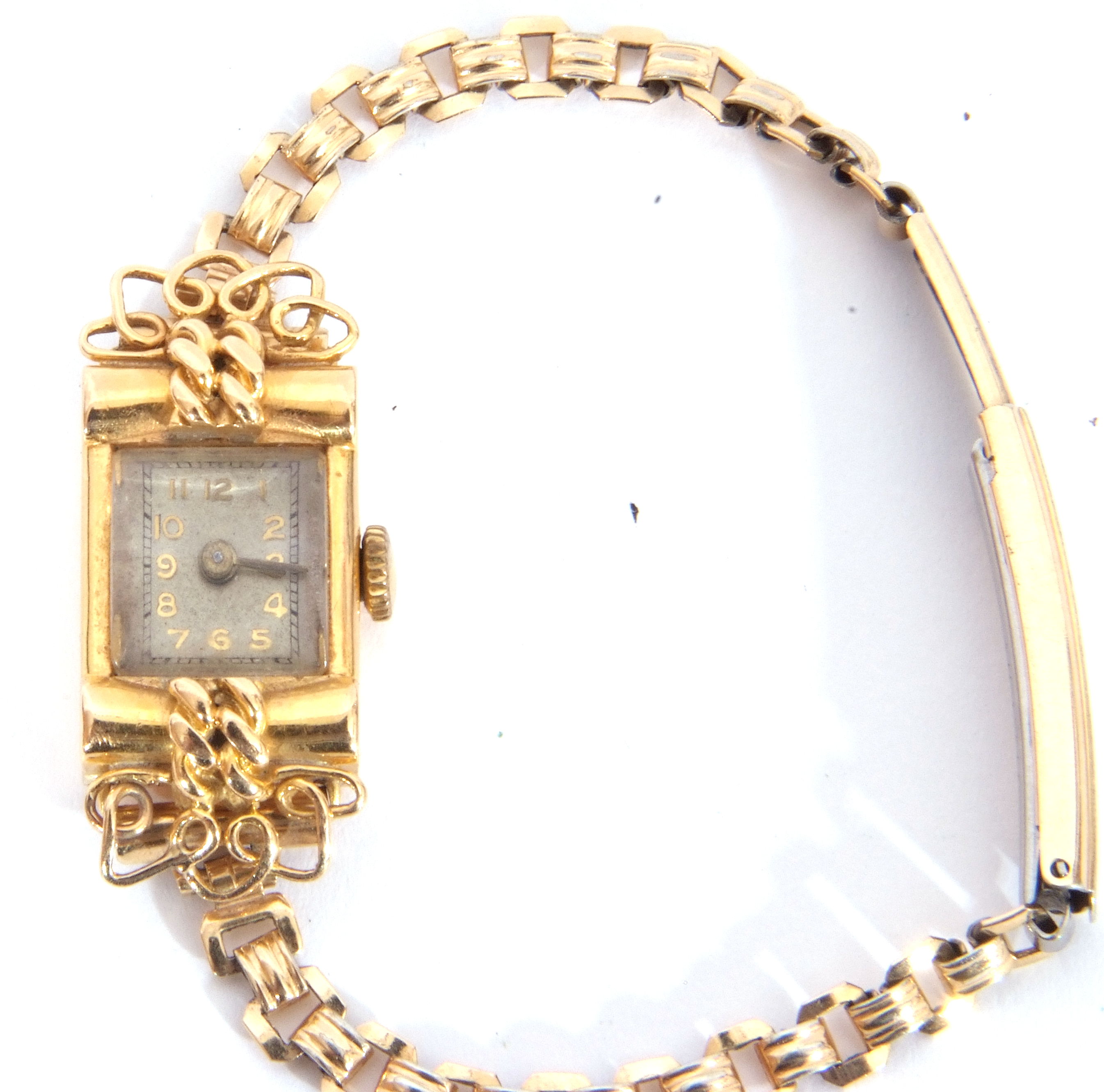 Second quarter of 20th century ladies cased French wristwatch, the rectangular shaped case with un- - Image 3 of 6