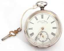 Last quarter of 19th century Continental white metal cased pocket watch with key wind, having