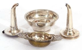 Mixed Lot: George III silver wine funnel bowl (strainer), London 1785, together with two unmarked