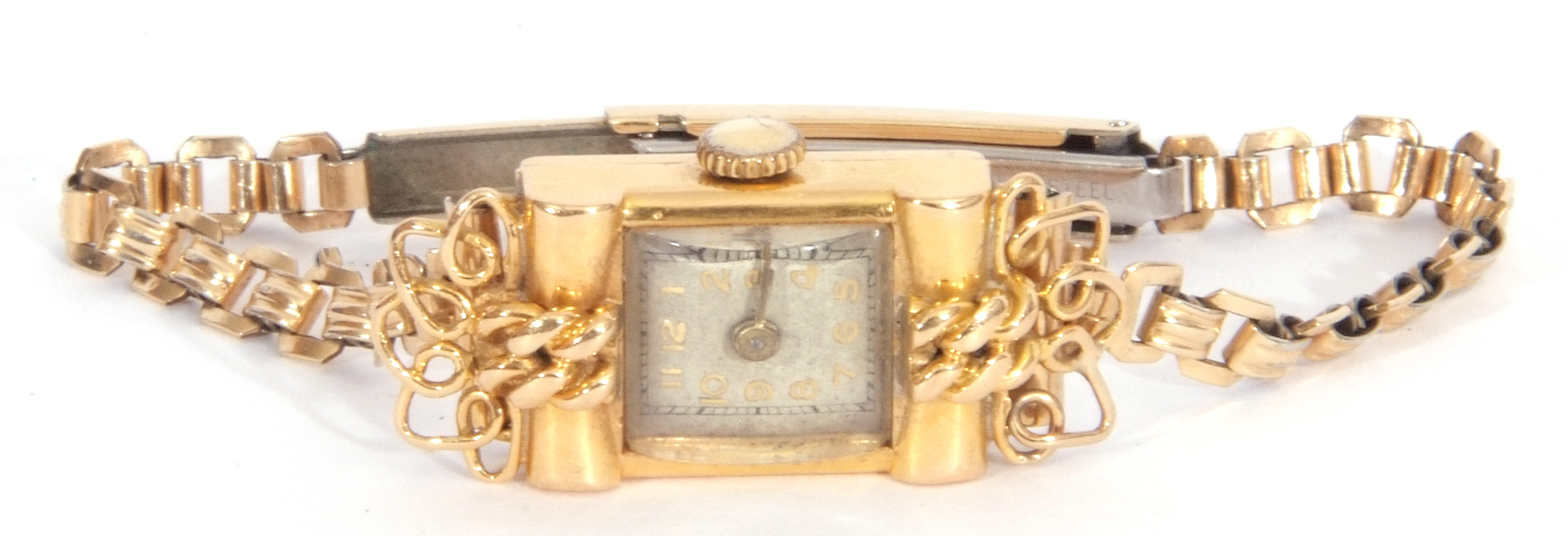 Second quarter of 20th century ladies cased French wristwatch, the rectangular shaped case with un- - Image 5 of 6