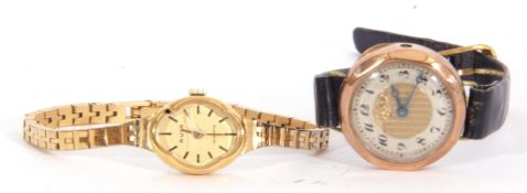 Mixed Lot: first quarter of 20th century ladies 9ct gold cased wrist watch of octagonal shape