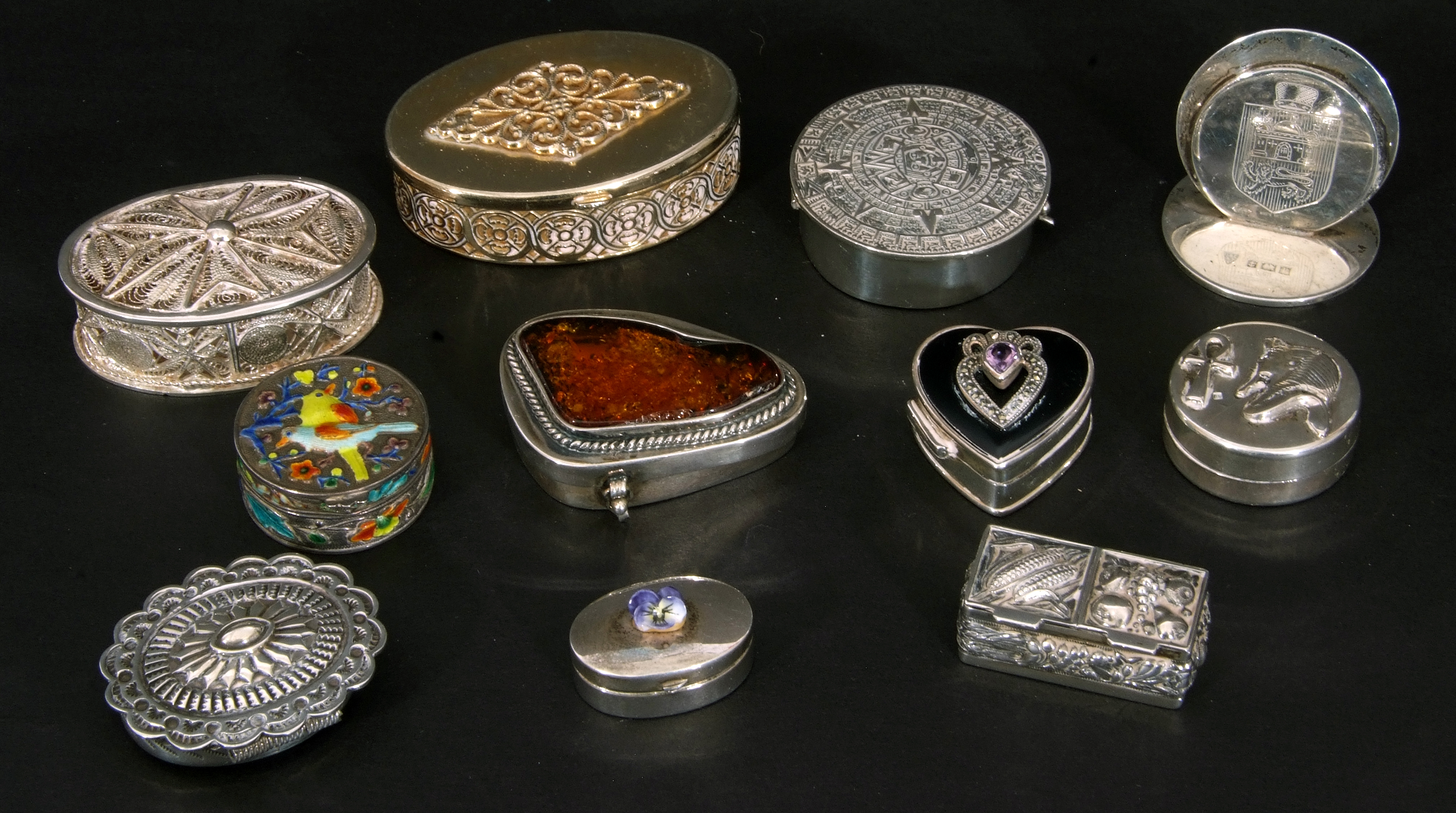 Collection of nine mainly silver/white metal decorative boxes and hallmarked silver menu holder, - Image 3 of 4