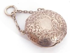 George V silver sovereign case, chased and engraved front and back with push in clasp and chain
