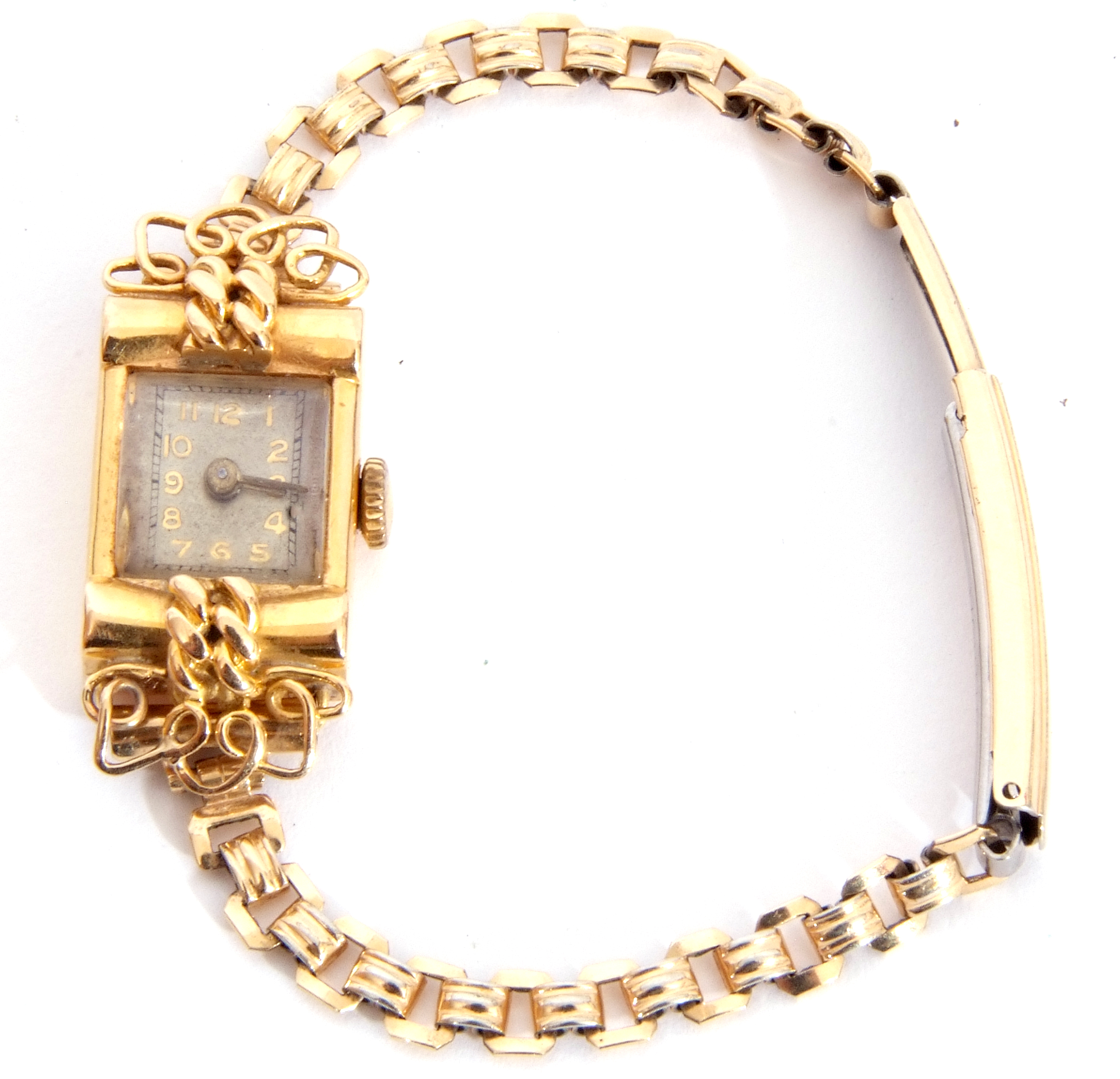 Second quarter of 20th century ladies cased French wristwatch, the rectangular shaped case with un- - Image 2 of 6