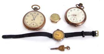 """Mixed Lot: Jungans """"Jota"""" open faced pocket watch, a Remontoire cylinder open faced pocket watch"""