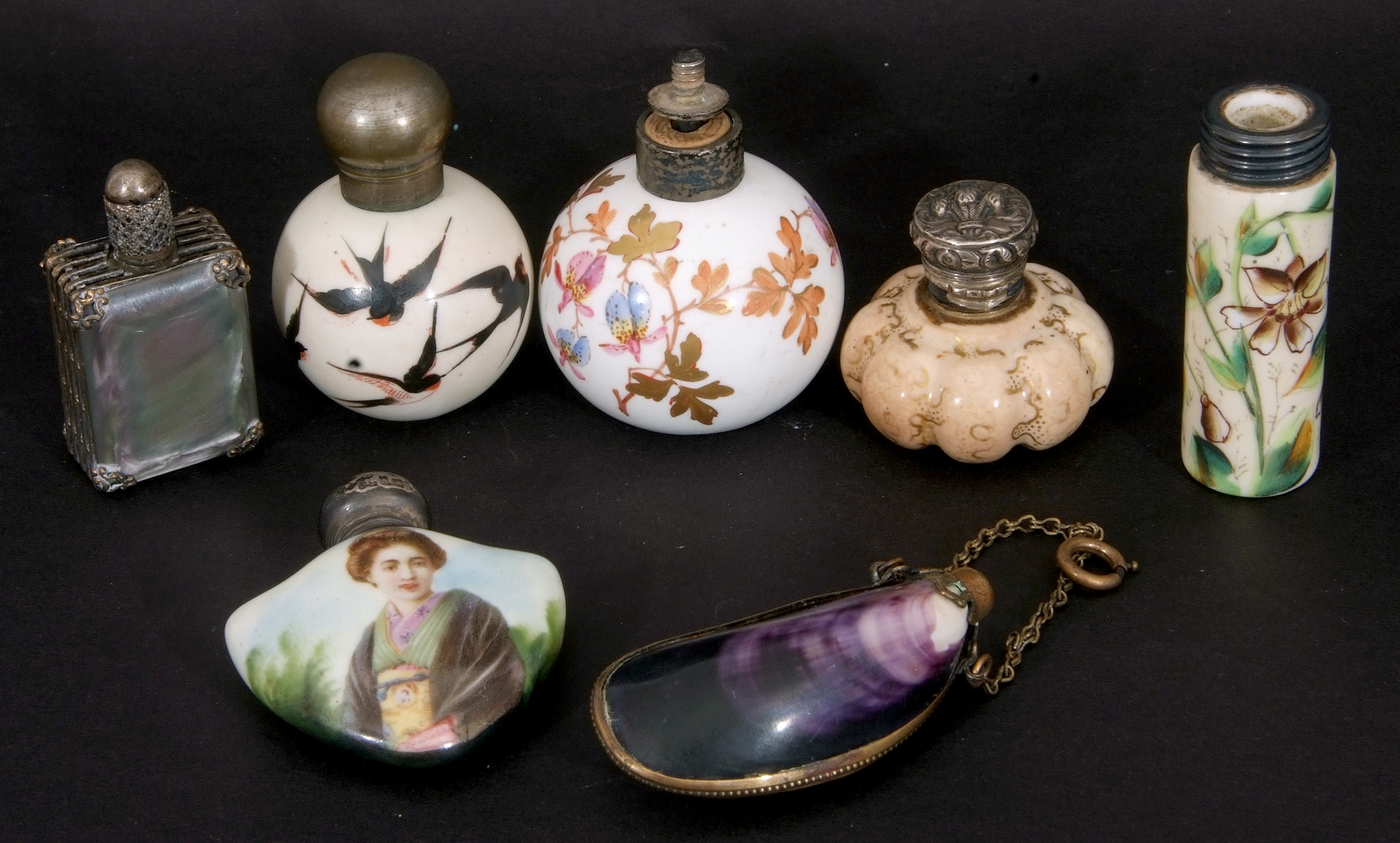Mixed Lot: scent bottles to include a hand painted porcelain bottle of shield shape, the front