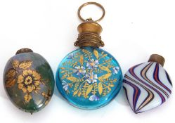 Mixed Lot: Antique chatelaine perfume scent bottle, the turquoise coloured glass painted with