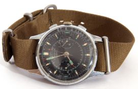 Third quarter of 20th century Sekonda centre seconds wrist chronograph watch case, stainless steel