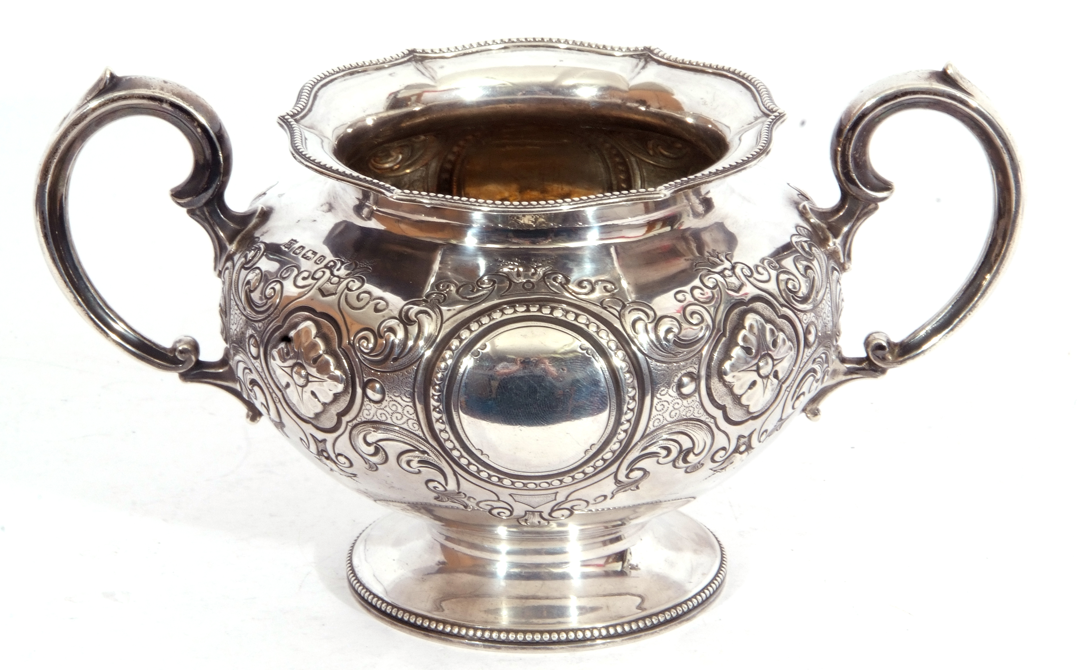 Victorian twin handled sucrier of squat circular form, with two scroll capped handles, beaded - Image 2 of 8