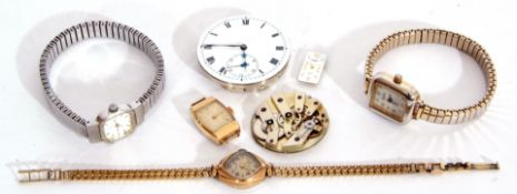 Mixed Lot: five ladies wrist watches including three with metal bracelets, together with two watch