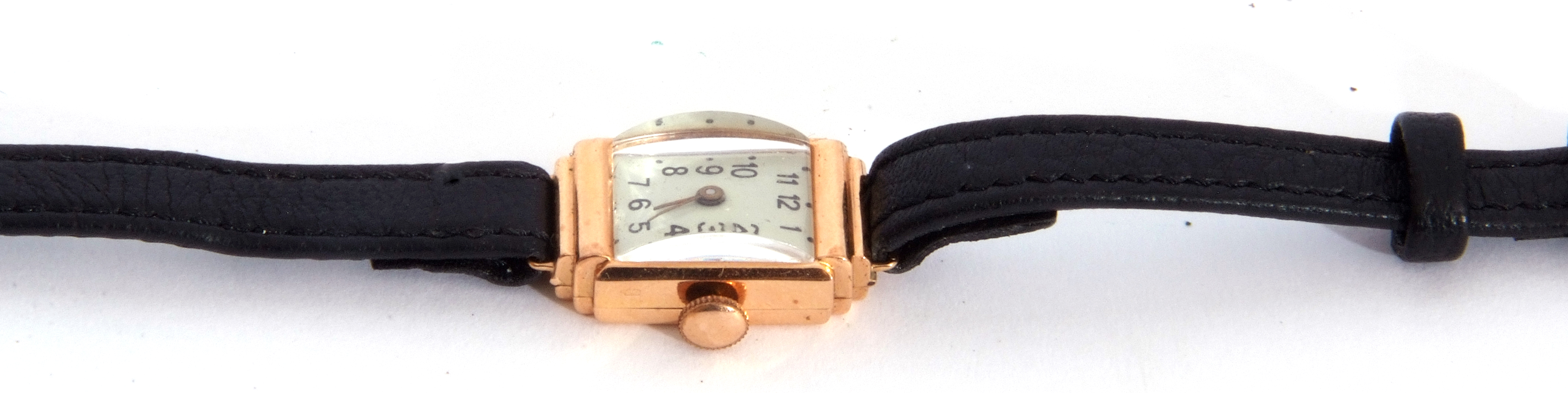 Second quarter of 20th century ladies cased wrist watch, the rectangular shaped case with un-named - Image 3 of 4