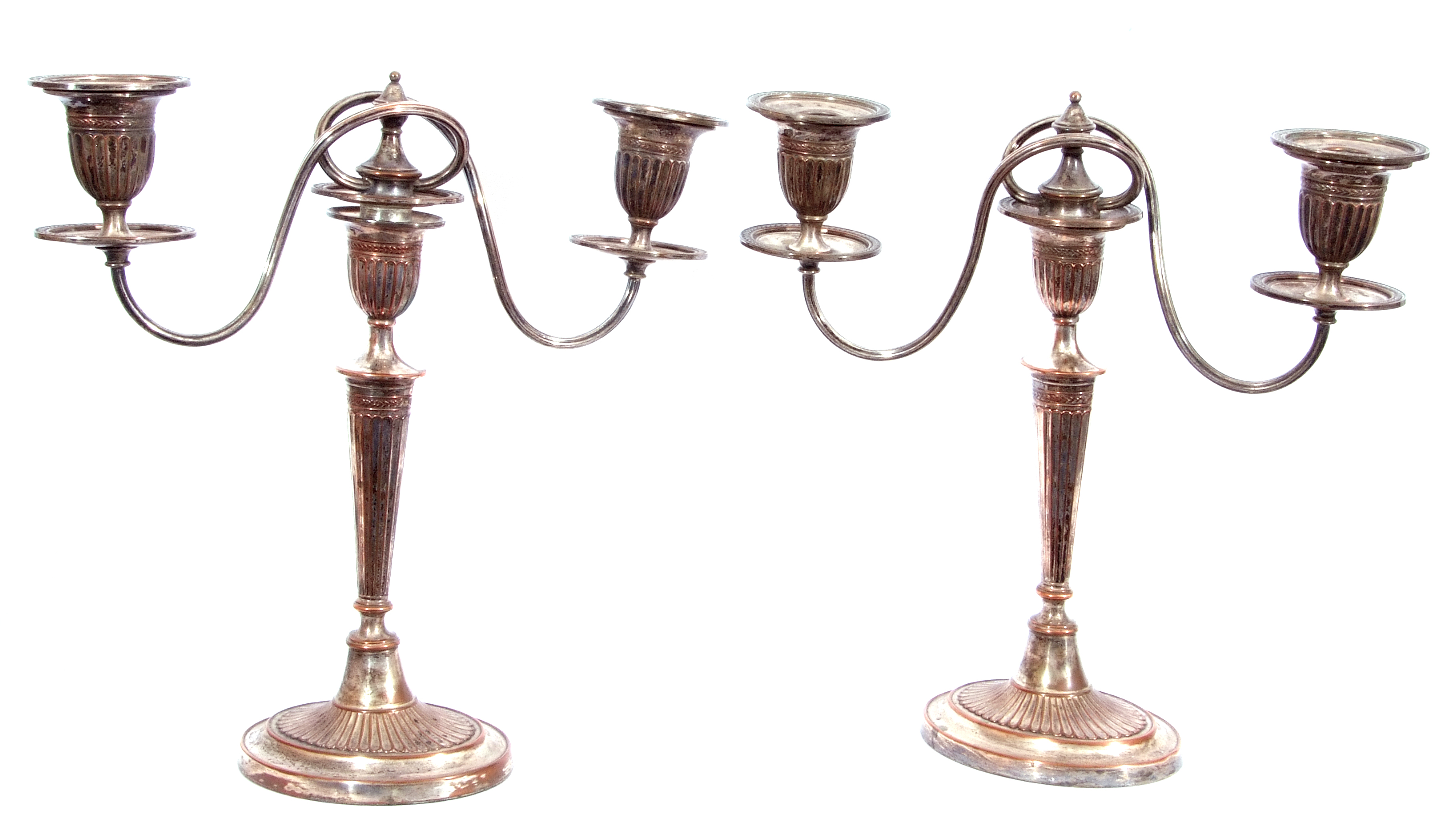 Pair of Old Sheffield Plate George IV Adam style three-light candelabra, 36cm tall (a/f) - Image 2 of 4