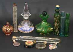 Boxed mixed lot: various glass scent bottles to include Victorian green glass and gilt decorated