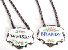 """Small pair of Elizabeth II hallmarked silver and enamelled spirit labels of cartouche form, """"Brandy"""""""