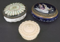 Mixed Lot: Victorian blue glass patch box, the top hand painted with two birds on a ledge, having