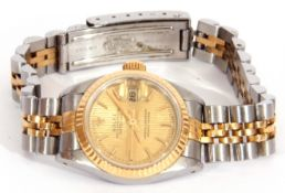 Ladies Rolex Oyster Perpetual Datejust, bi-metal fluted bezel watch with champagne dial, baton