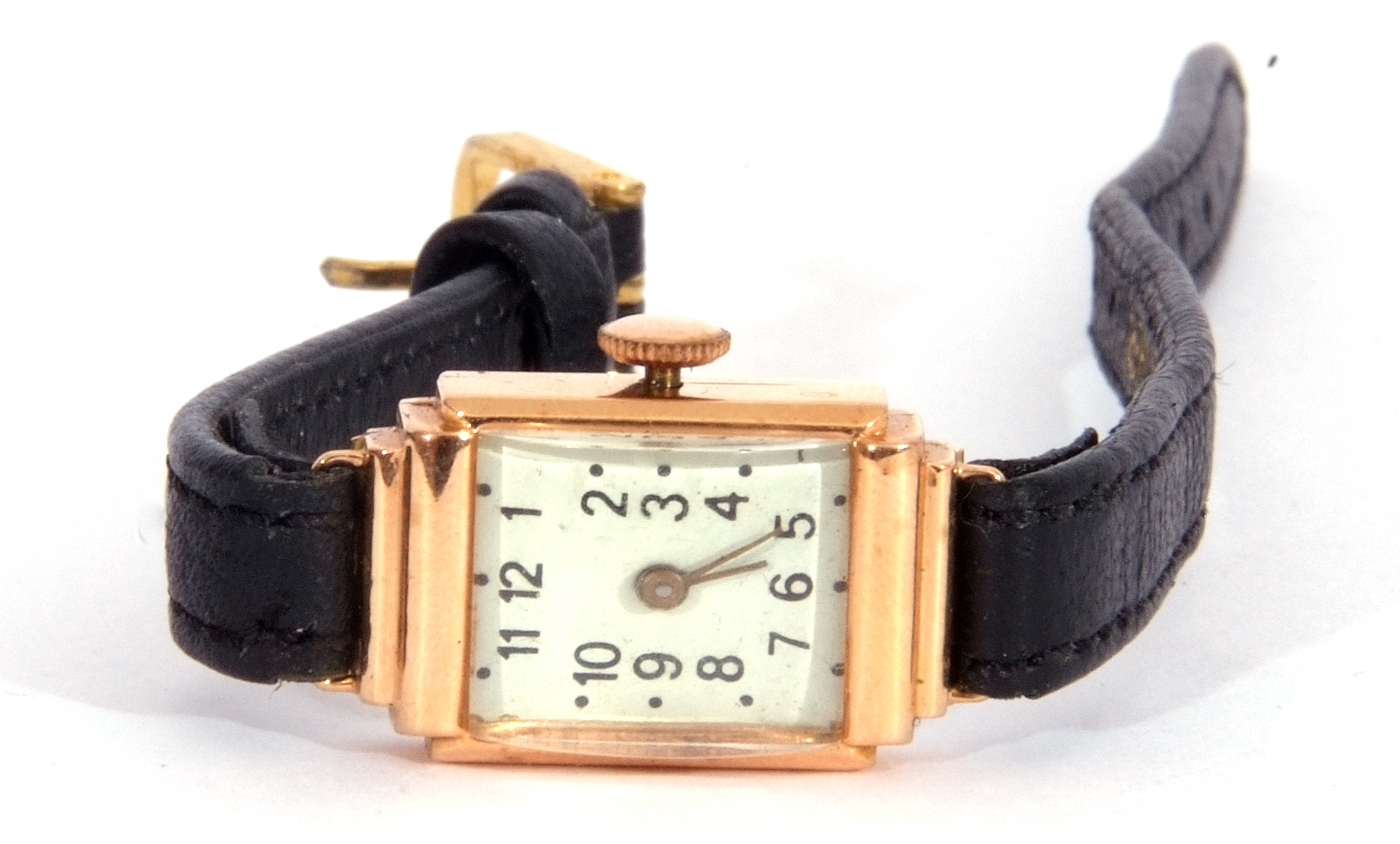 Second quarter of 20th century ladies cased wrist watch, the rectangular shaped case with un-named