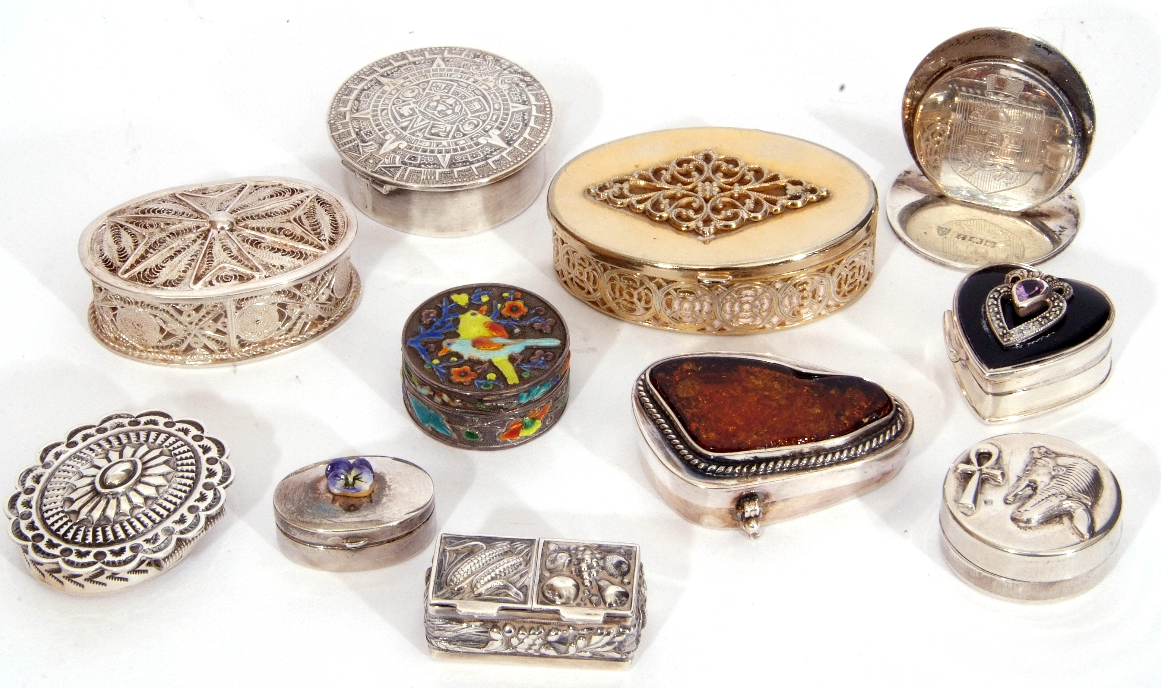 Collection of nine mainly silver/white metal decorative boxes and hallmarked silver menu holder, - Image 2 of 4