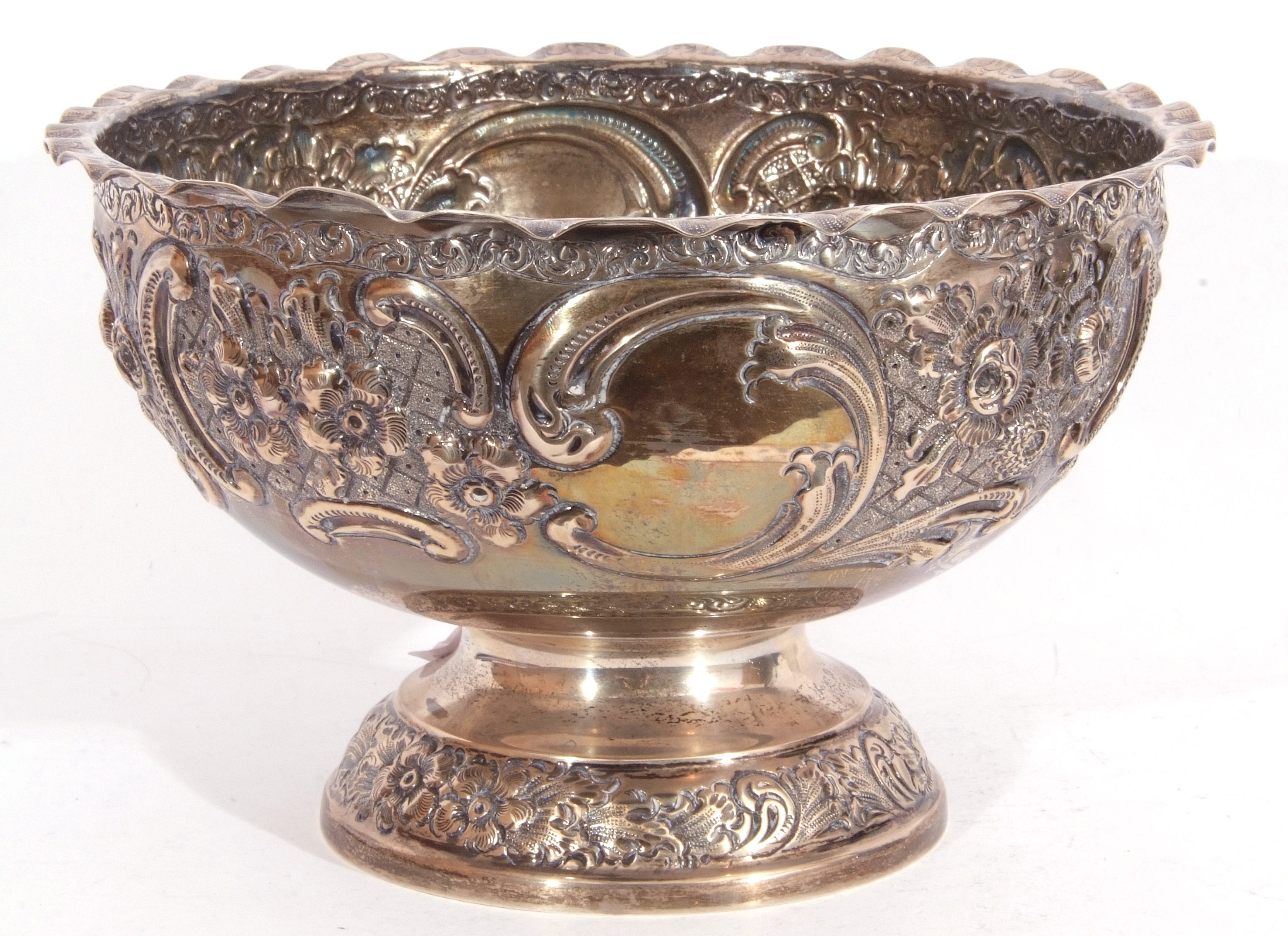 Late Victorian silver rose bowl raised on a pedestal foot and having an all over chased leaf and - Image 2 of 4