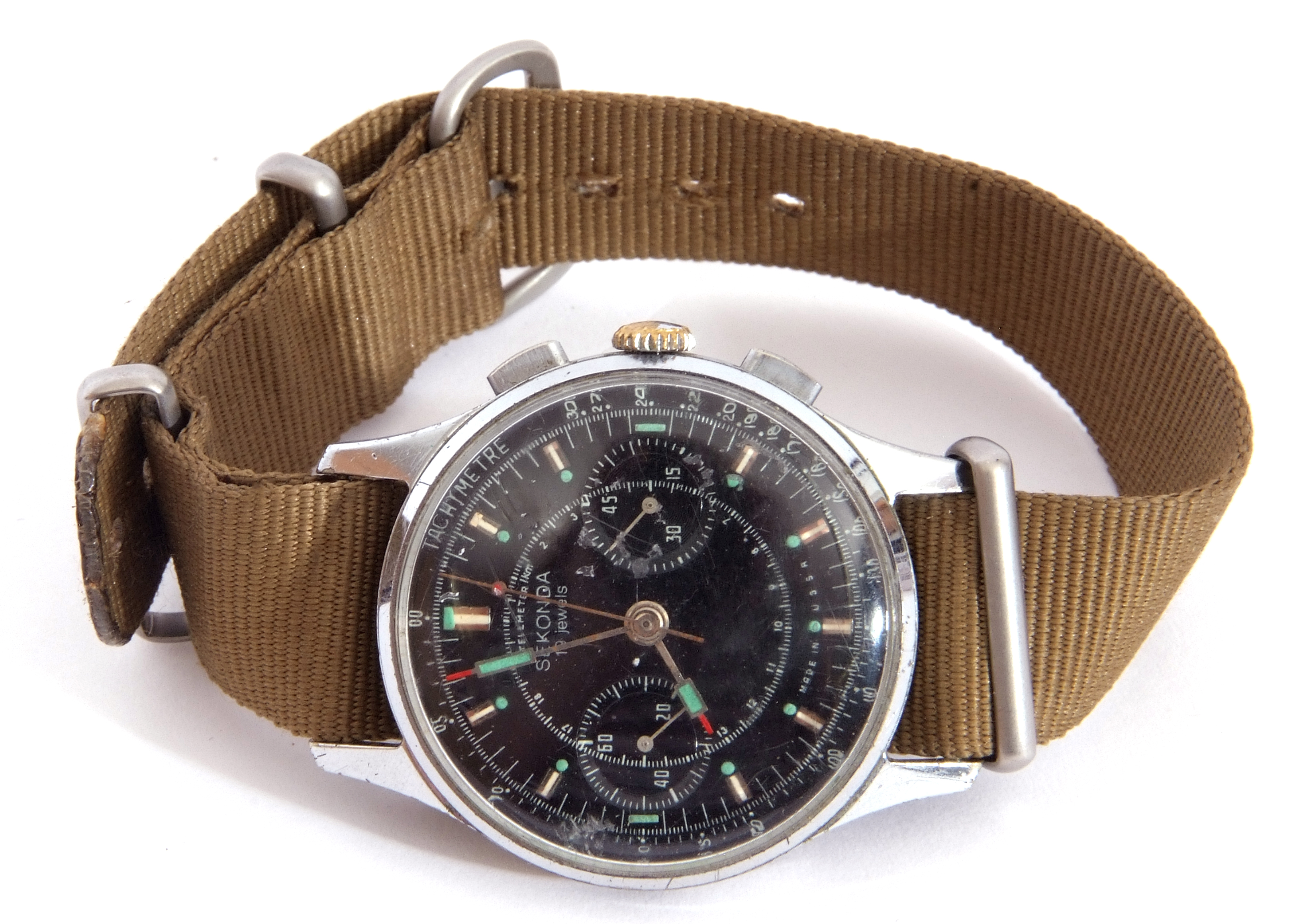 Third quarter of 20th century Sekonda centre seconds wrist chronograph watch case, stainless steel - Image 2 of 6
