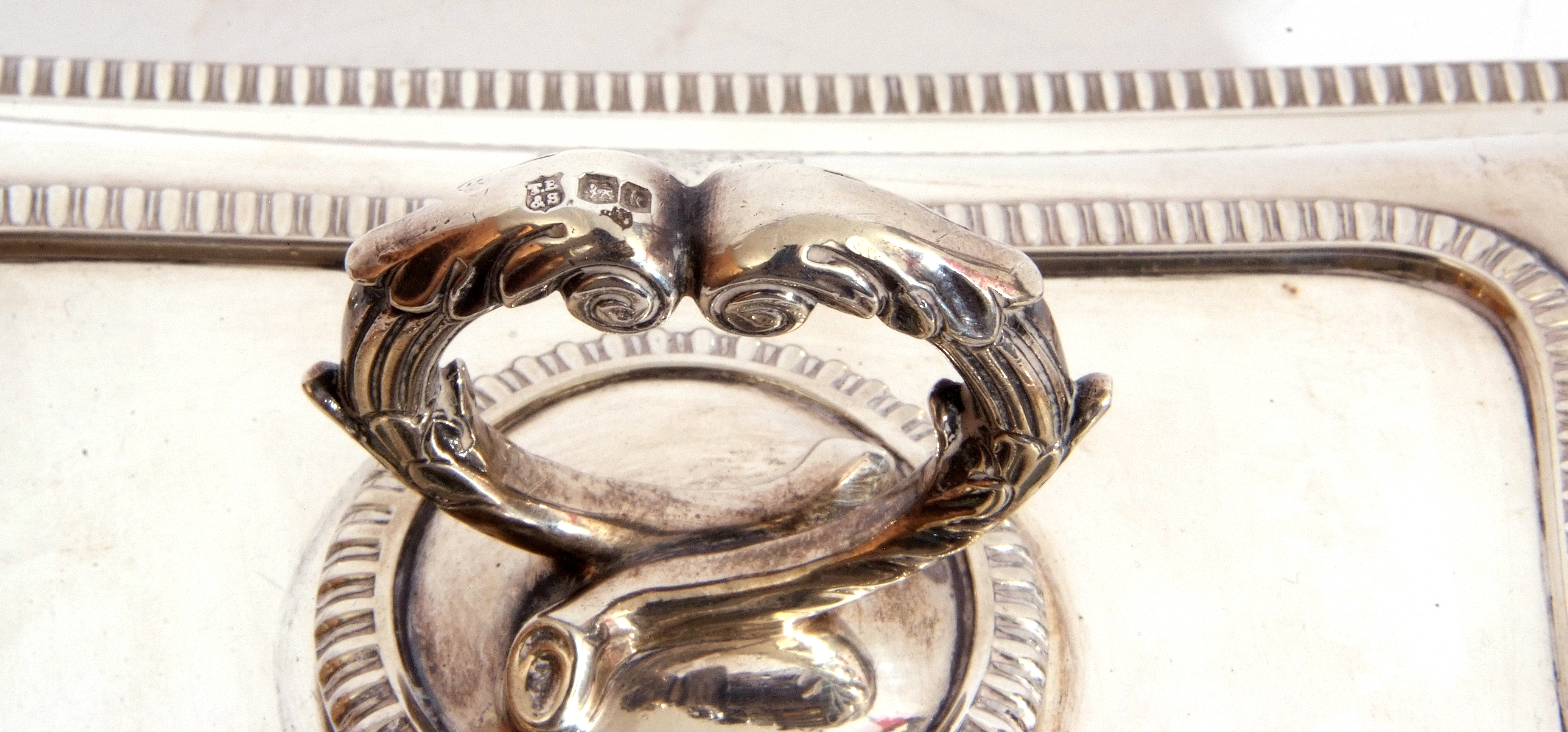George V hallmarked small silver entree dish and lid of rectangular shape, applied gadrooned - Image 4 of 9