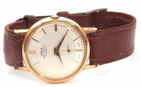 Gents mid-20th century gold plated and stainless steel backed Oris wrist watch with anti-shock 17-