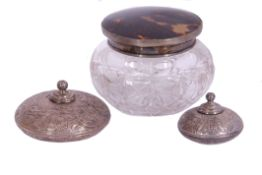 Mixed Lot: cut glass powder bowl with hallmarked silver and tortoiseshell inset push-on lid, 10cm
