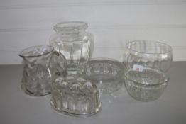 GLASS WARES, JUGS, VASE, JELLY MOULD ETC