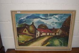MODERN OIL ON CANVAS, UNSIGNED, CONTINENTAL FARMHOUSE, APPROX 50 X 73CM