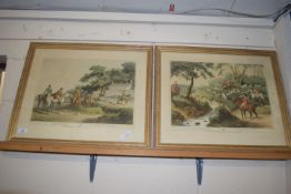 PAIR OF COLOURED 19TH CENTURY ENGRAVINGS, FOXHUNTING AND FOXHUNTING NO 3, EACH FRAME WIDTH APPROX
