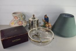 TRAY CONTAINING CERAMICS AND GLASS WARE, GLASS BOWL WITH PLATED RIM, TWO SILVER METAL SERVERS, A
