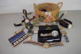 SMALL BASKET CONTAINING WRIST WATCHES