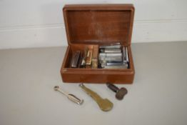WOODEN BOX CONTAINING CIGARETTE LIGHTERS