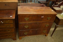 MAHOGANY CHEST OF THREE LONG DRAWERS, WIDTH APPROX 90CM