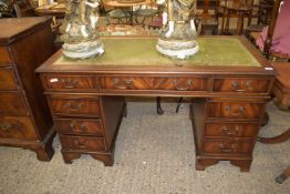 REPRODUCTION LEATHER TOPPED TWIN PEDESTAL DESK, LENGTH APPROX 136CM