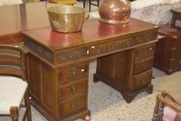 STAINED WOOD REPRODUCTION TWIN PEDESTAL LEATHER INSET DESK, LENGTH APPROX 128CM