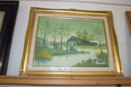 OIL ON CANVAS, RIVER SCENE WITH BUILDINGS, SIGNED P BARRETT, APPROX 30 X 39CM