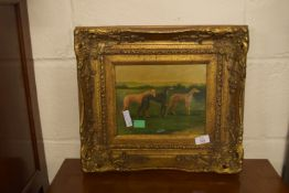 HEAVY GILT FRAMED EARLY 19TH CENTURY STYLE PICTURE DEPICTING THREE GREYHOUNDS, APPROX 19 X 24CM